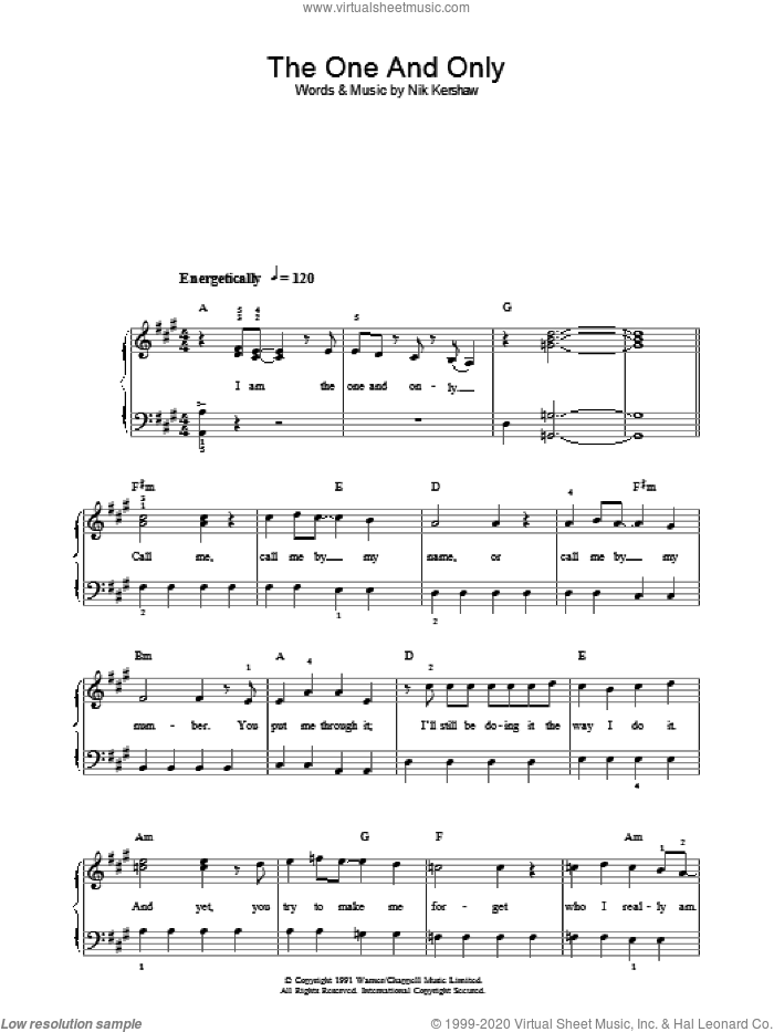 The One And Only sheet music for voice, piano or guitar by Nik Kershaw. Score Image Preview.