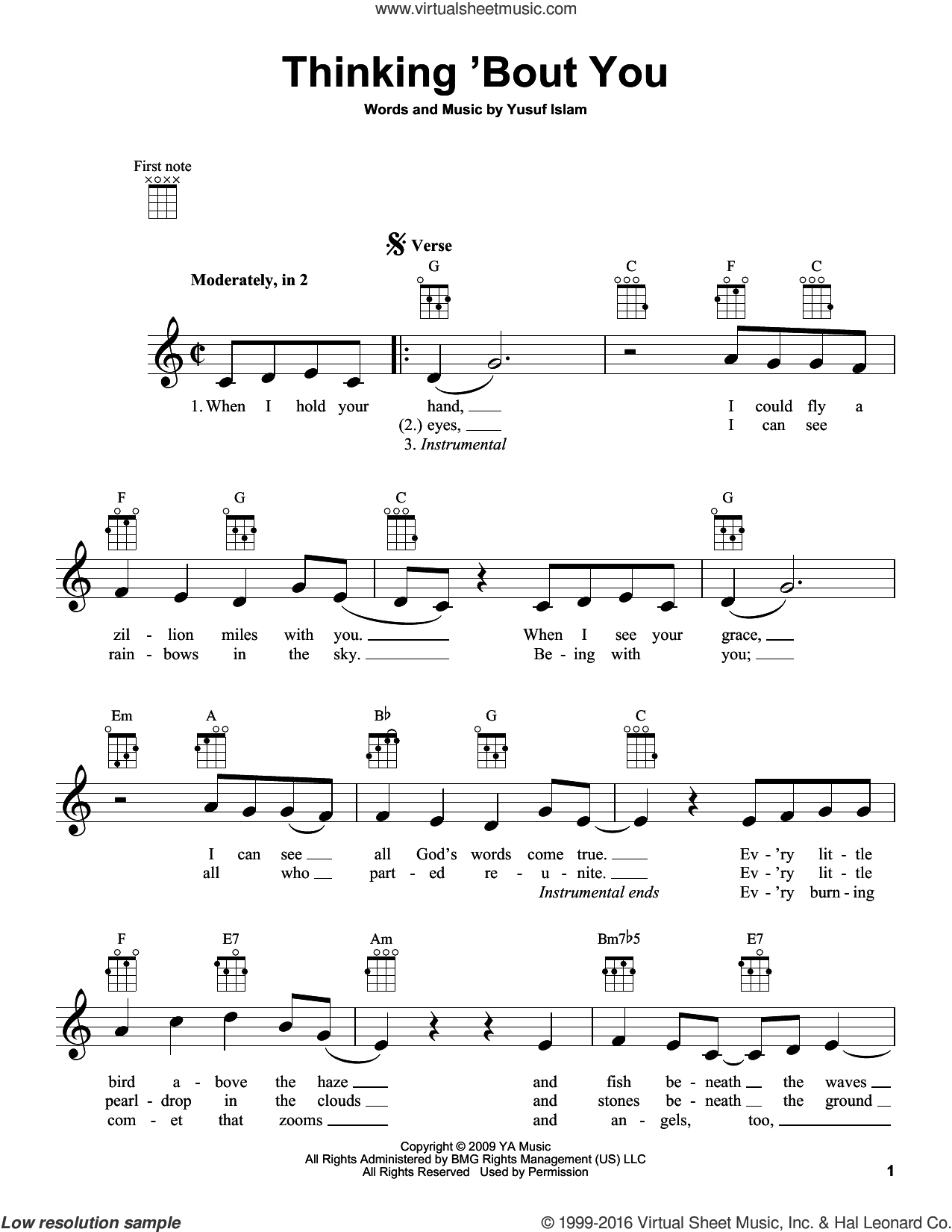 Thinking 'Bout You sheet music for ukulele by Yusuf/Cat Stevens, Cat Stevens and Yusuf Islam, intermediate. Score Image Preview.