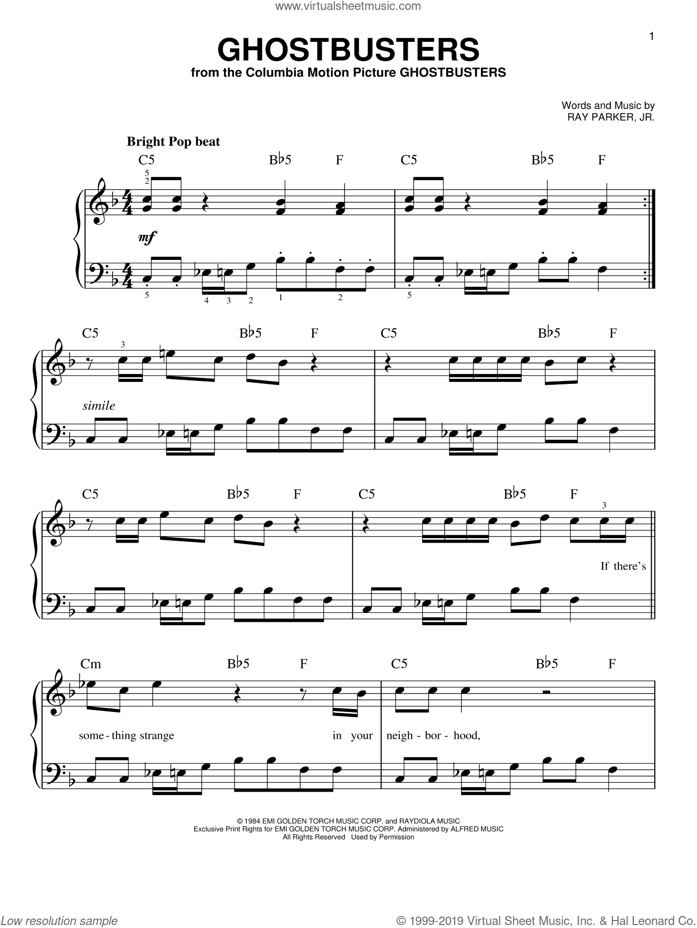 Ghostbusters sheet music for piano solo by Ray Parker Jr. and Miscellaneous, easy piano. Score Image Preview.