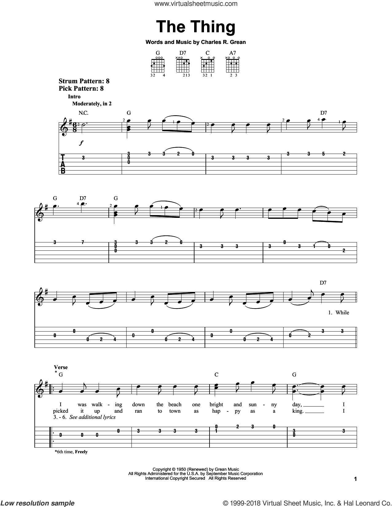 The Thing sheet music for guitar solo (easy tablature) by Charles Grean. Score Image Preview.