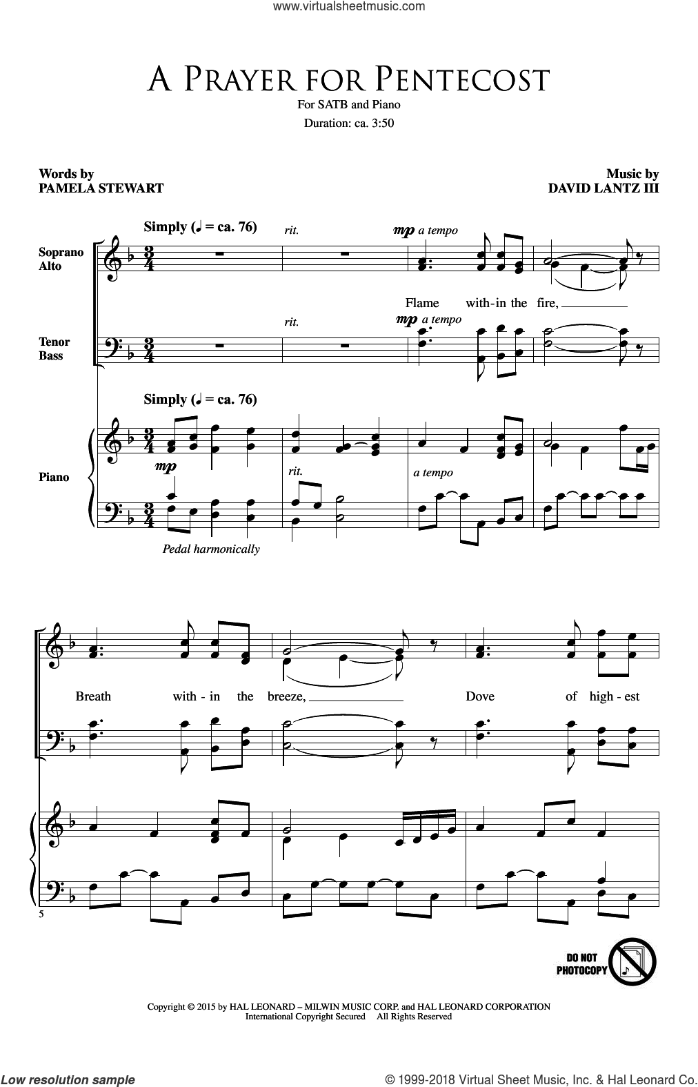 A Prayer For Pentecost sheet music for choir (SATB: soprano, alto, tenor, bass) by Pamela Stewart and David Lanz, intermediate skill level