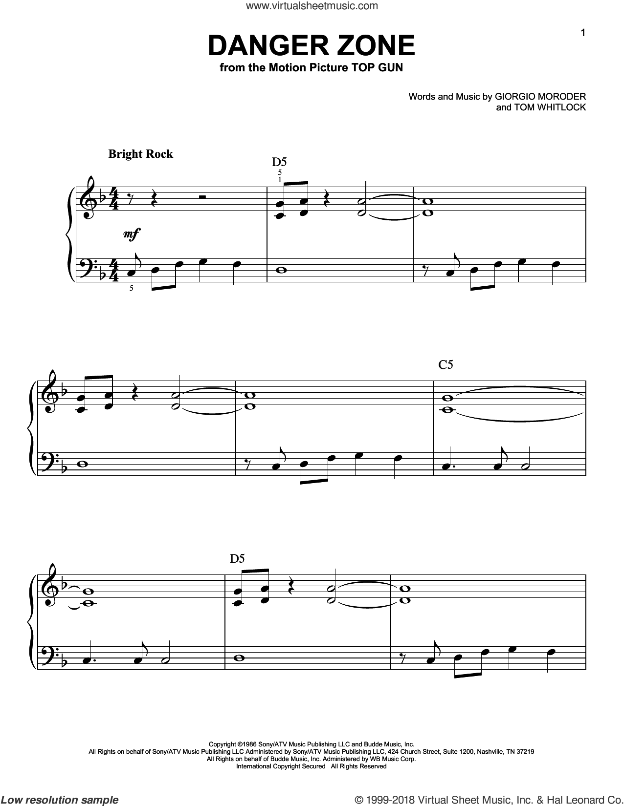 Danger Zone sheet music for piano solo by Tom Whitlock, Kenny Loggins and Giorgio Moroder. Score Image Preview.