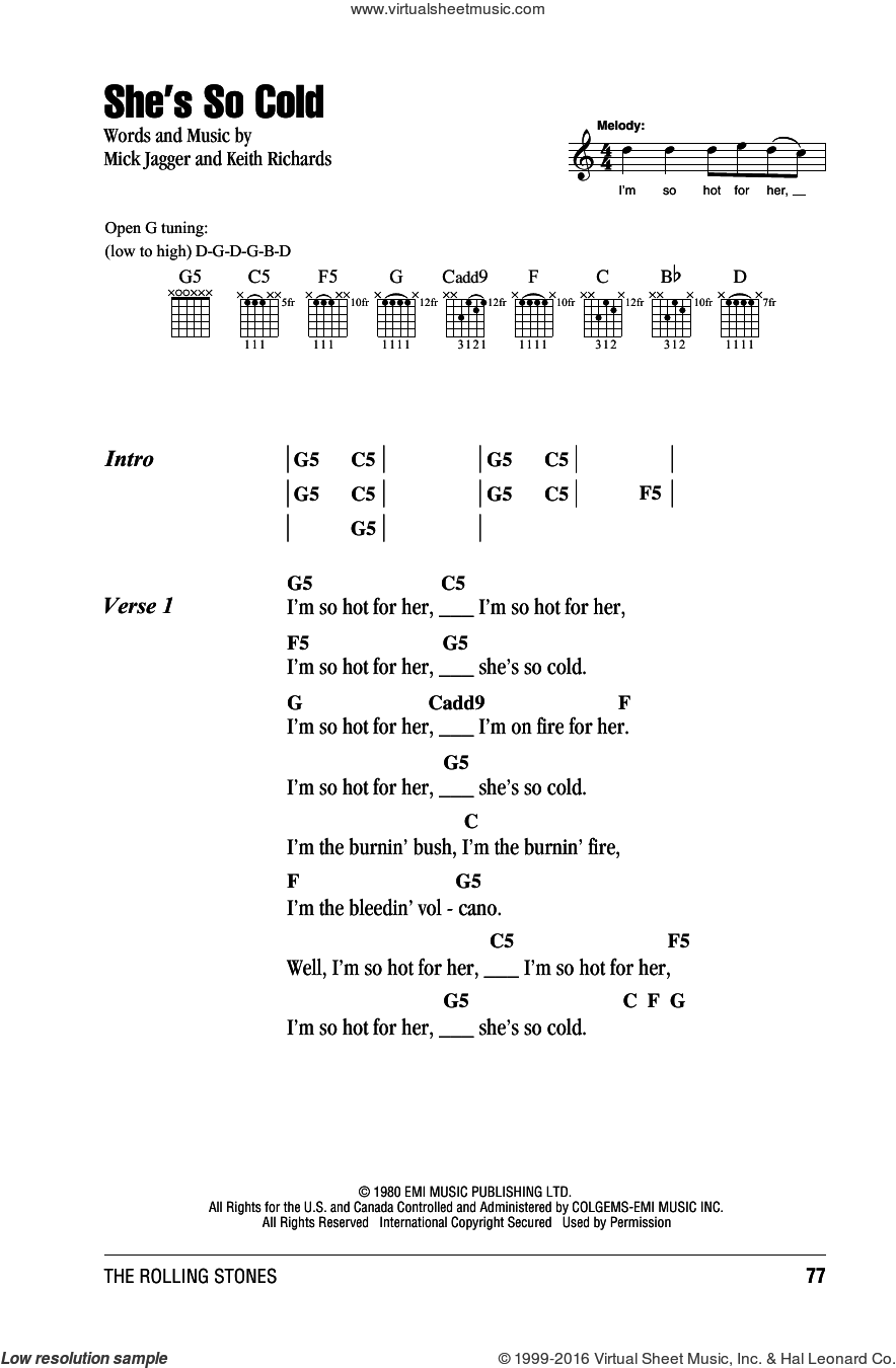 She's So Cold sheet music for guitar (chords) by The Rolling Stones, Keith Richards and Mick Jagger, intermediate guitar (chords). Score Image Preview.