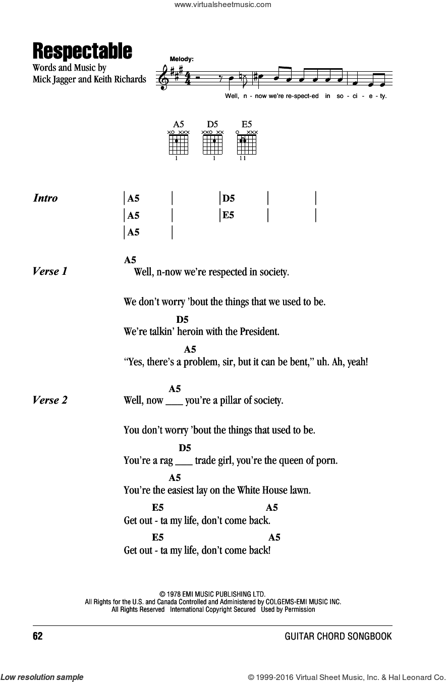 Respectable sheet music for guitar (chords) by The Rolling Stones, Keith Richards and Mick Jagger, intermediate skill level