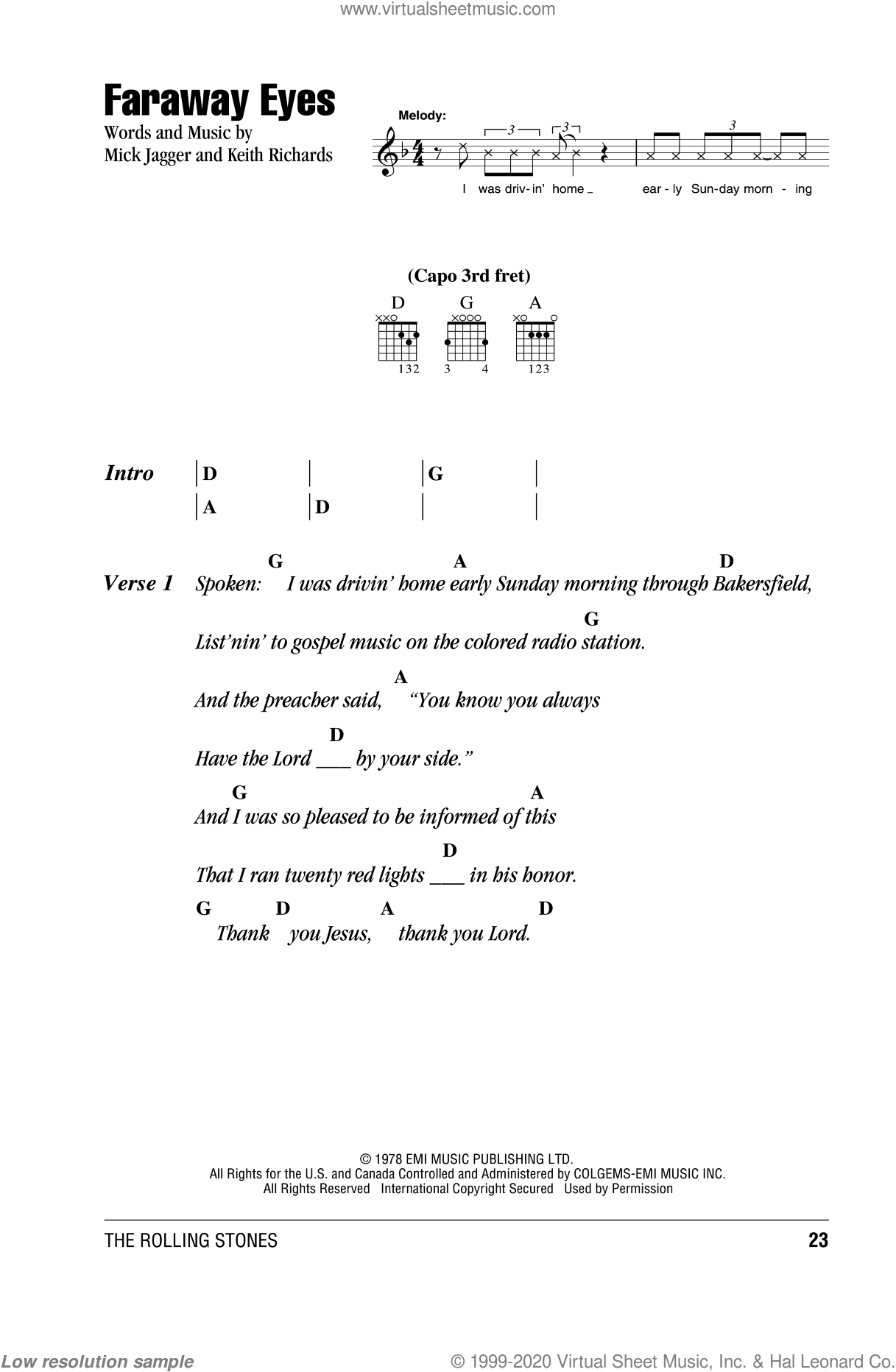Faraway Eyes sheet music for guitar (chords) by The Rolling Stones, Keith Richards and Mick Jagger, intermediate skill level