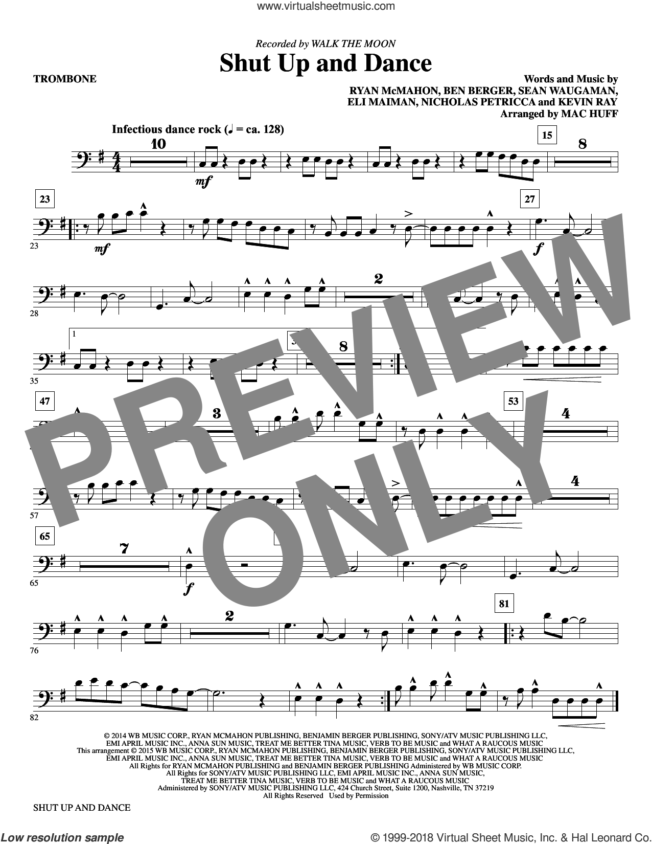 Shut Up and Dance (complete set of parts) sheet music for orchestra/band by Mac Huff, Ben Berger, Eli Maiman, Kevin Ray, Nicholas Petricca, Ryan McMahon, Sean Waugaman and Walk The Moon, intermediate