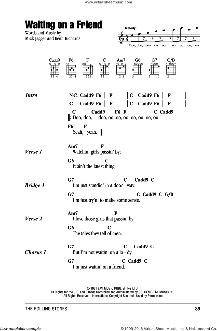 Waiting On A Friend sheet music for guitar (chords) by The Rolling Stones, Keith Richards and Mick Jagger, intermediate skill level