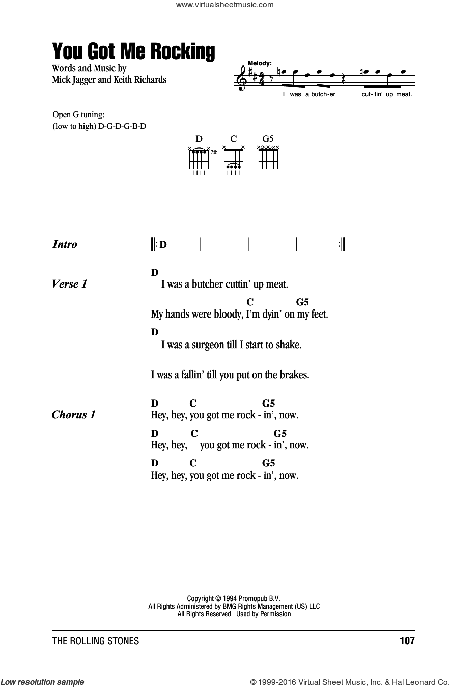 You Got Me Rocking sheet music for guitar (chords) by Mick Jagger, The Rolling Stones and Keith Richards. Score Image Preview.