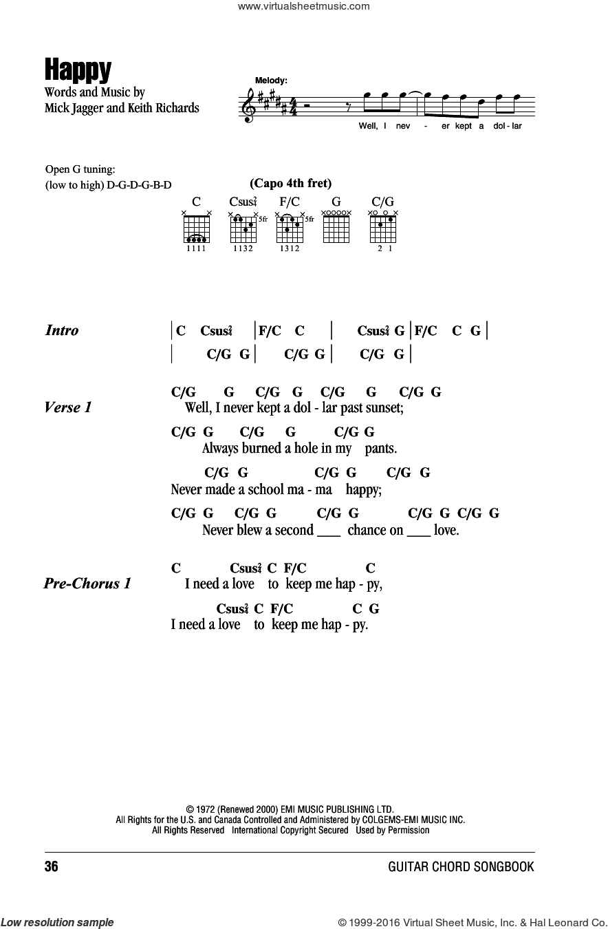 Happy sheet music for guitar (chords) by The Rolling Stones, Keith Richards and Mick Jagger, intermediate skill level
