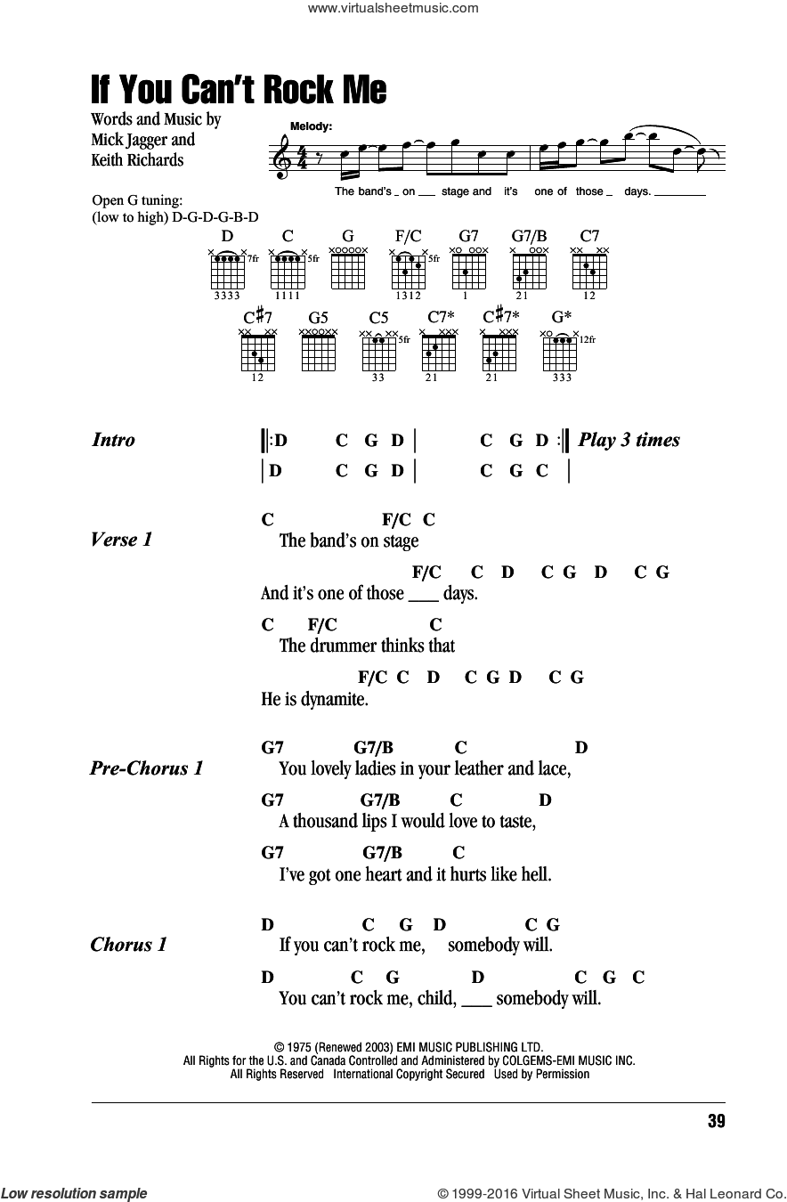 If You Can't Rock Me sheet music for guitar (chords) by Mick Jagger, The Rolling Stones and Keith Richards. Score Image Preview.