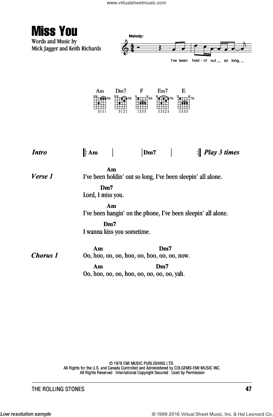 Miss You sheet music for guitar (chords) by The Rolling Stones, Keith Richards and Mick Jagger, intermediate guitar (chords). Score Image Preview.