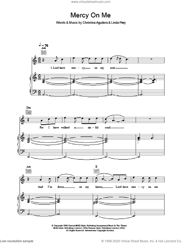 Mercy On Me sheet music for voice, piano or guitar by Christina Aguilera, intermediate voice, piano or guitar. Score Image Preview.