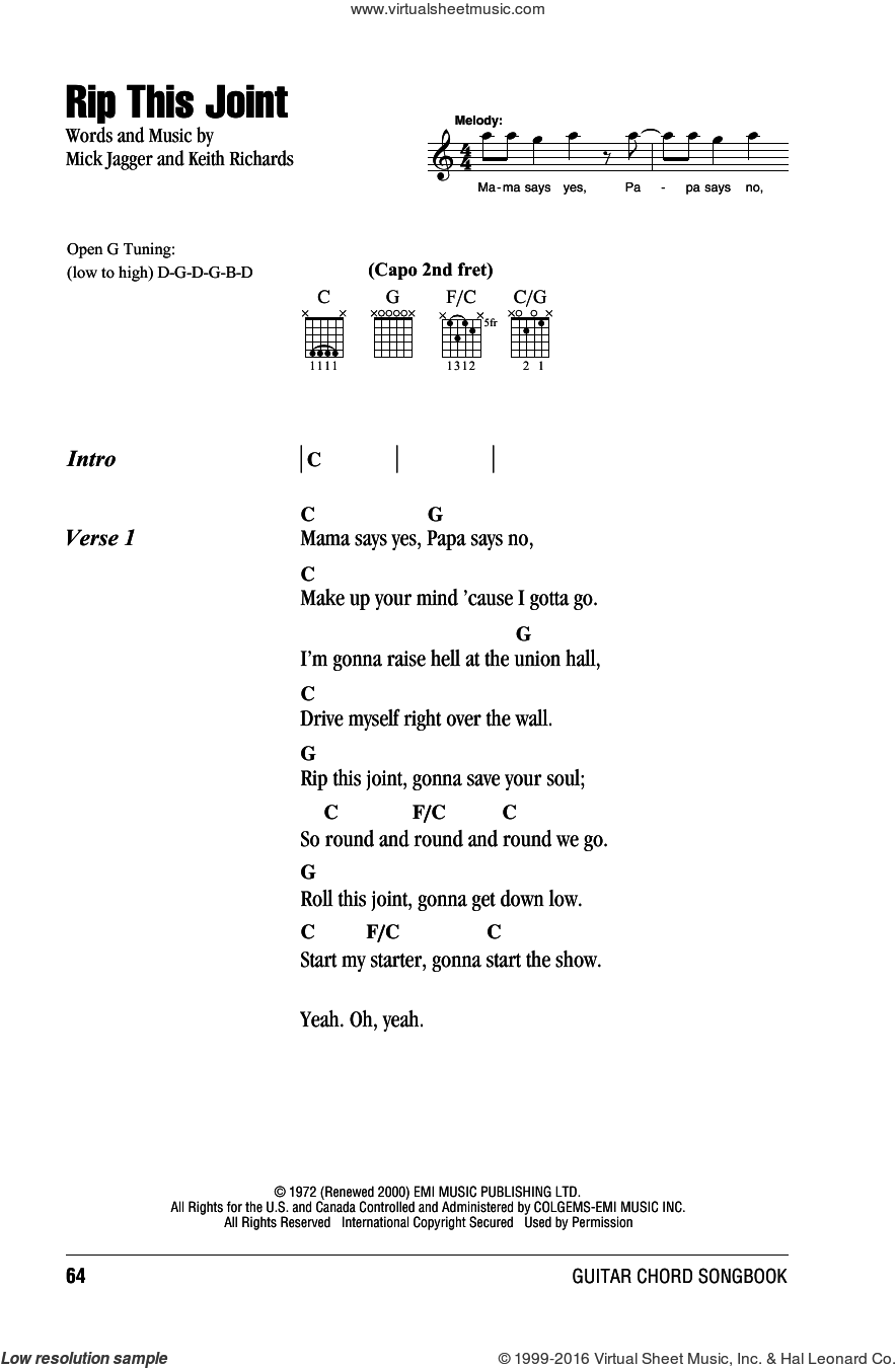 Rip This Joint sheet music for guitar (chords) by Mick Jagger, The Rolling Stones and Keith Richards. Score Image Preview.