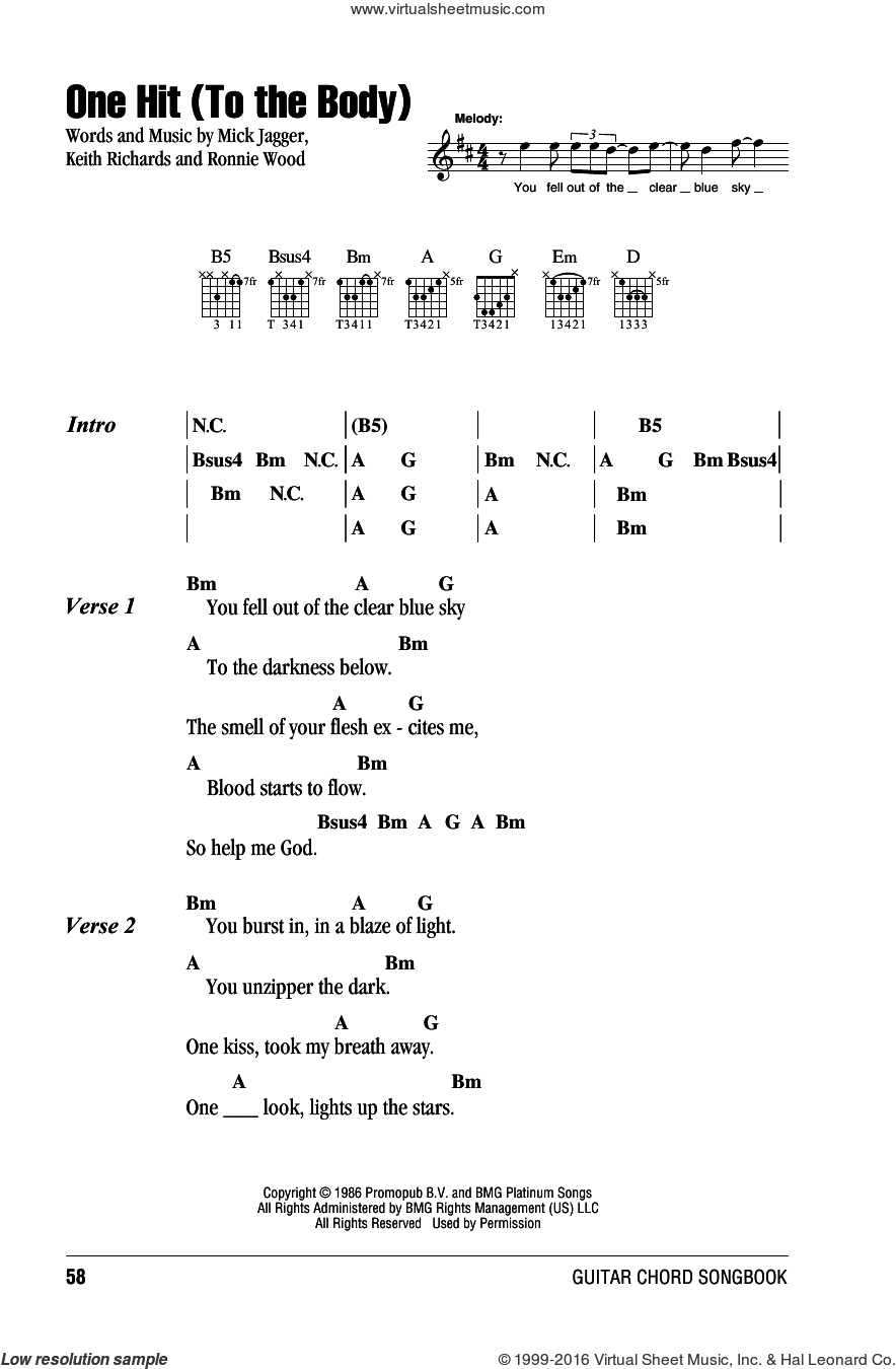 One Hit (To The Body) sheet music for guitar (chords) by The Rolling Stones, Keith Richards, Mick Jagger and Ronnie Wood, intermediate skill level