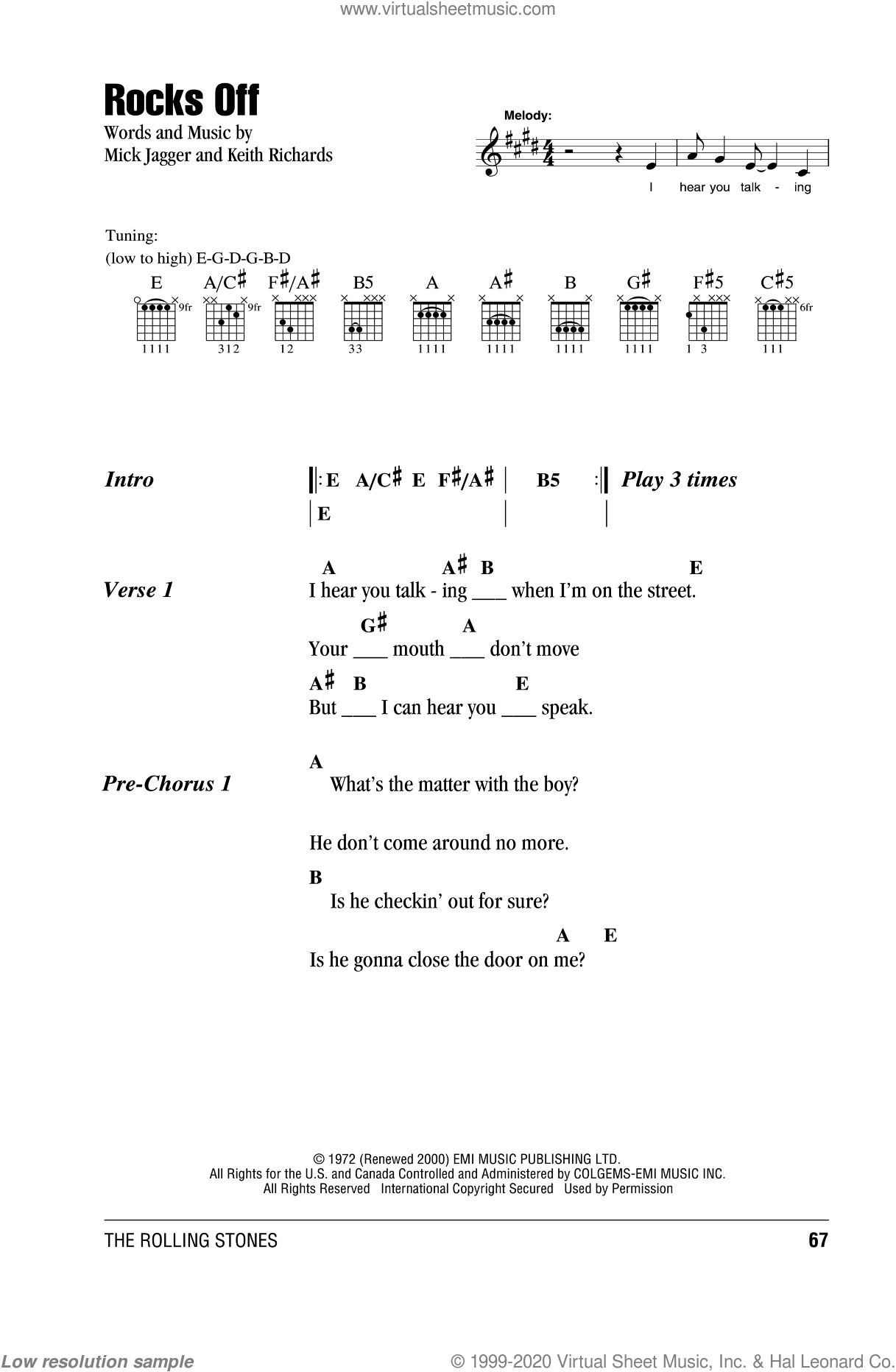 Stones Rocks Off Sheet Music For Guitar Chords Pdf