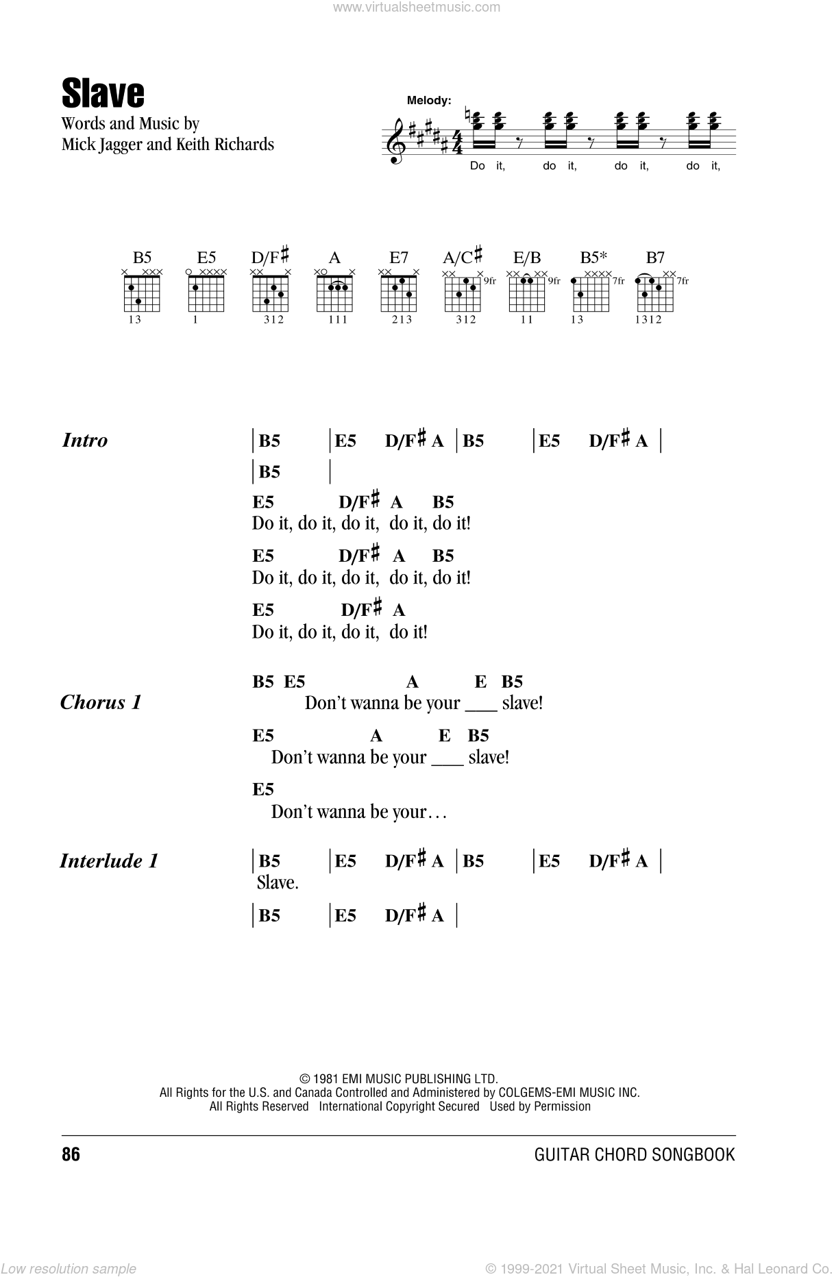 Slave sheet music for guitar (chords) by The Rolling Stones, Keith Richards and Mick Jagger, intermediate. Score Image Preview.