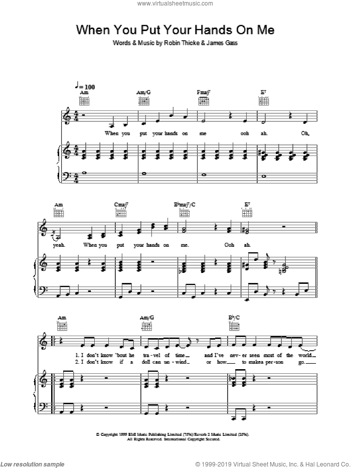 When You Put Your Hands On Me sheet music for voice, piano or guitar by Christina Aguilera, James Gass and Robin Thicke, intermediate skill level