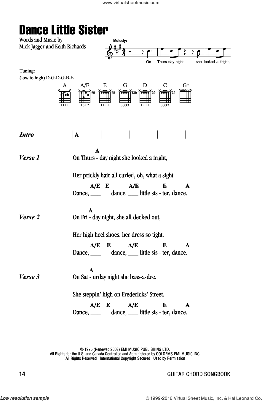 Dance Little Sister sheet music for guitar (chords) by The Rolling Stones, Keith Richards and Mick Jagger, intermediate skill level