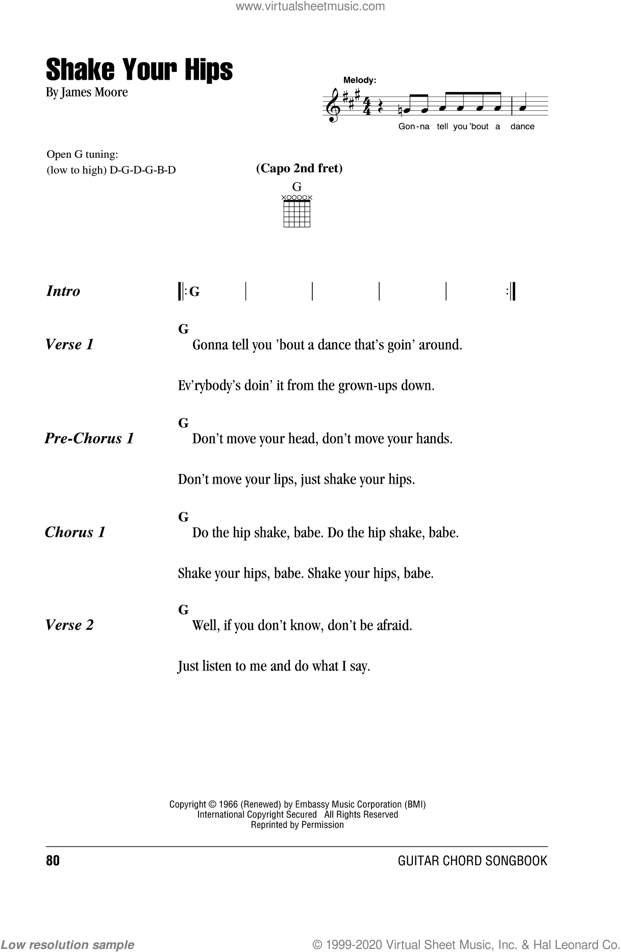 Shake Your Hips sheet music for guitar (chords) by The Rolling Stones and James Moore, intermediate skill level