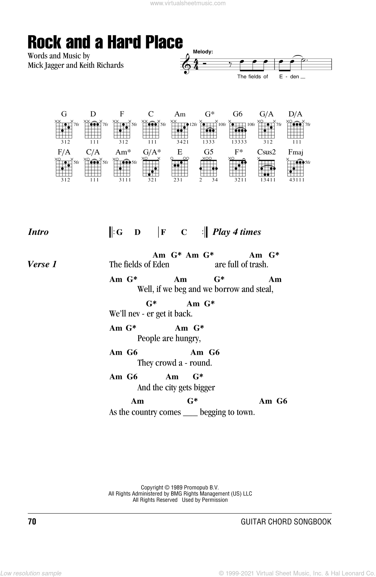 Stones Rock And A Hard Place Sheet Music For Guitar Chords