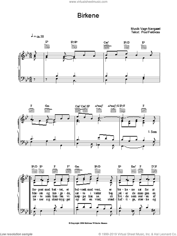 Birkene sheet music for voice, piano or guitar by Poul Feldvoss and Vagn Norgaard, intermediate