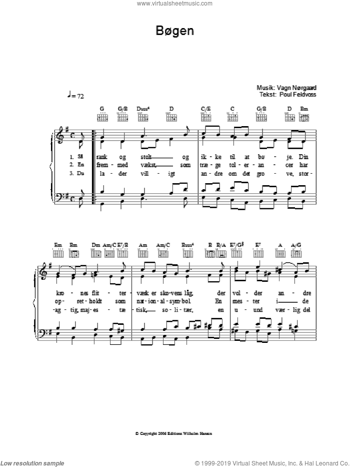 Bogen sheet music for voice, piano or guitar by Poul Feldvoss, intermediate. Score Image Preview.