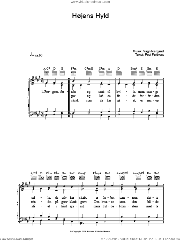 Hojens Hyld sheet music for voice, piano or guitar by Poul Feldvoss and Vagn Norgaard, intermediate. Score Image Preview.