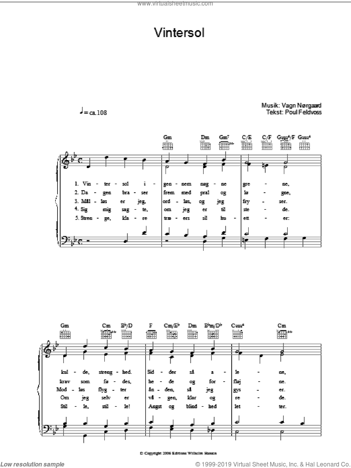 Vintersol sheet music for voice, piano or guitar by Vagn Norgaard and Poul Feldvoss. Score Image Preview.