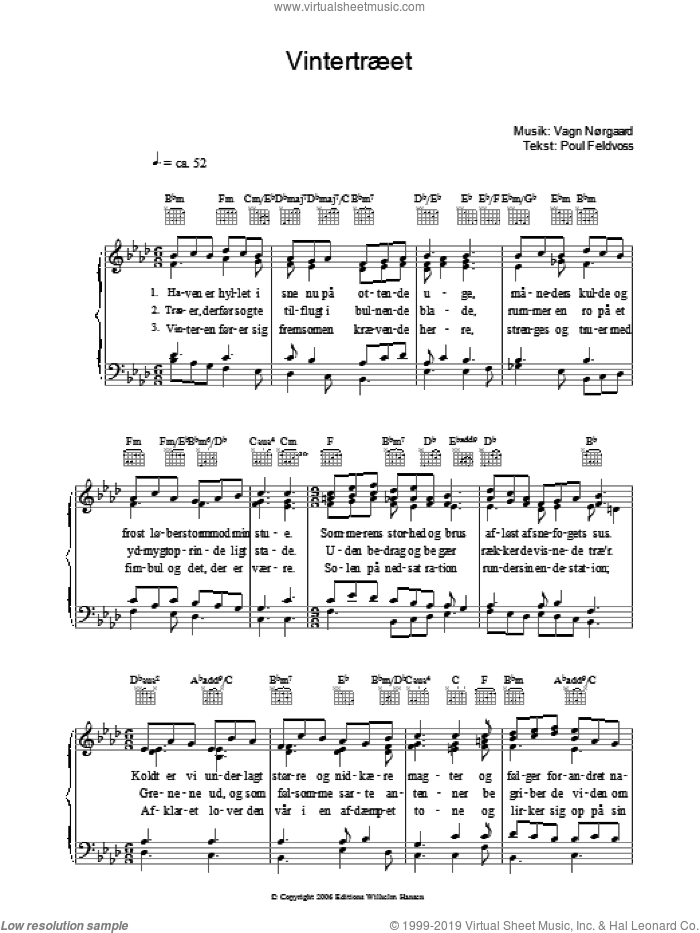 Vintertraeet sheet music for voice, piano or guitar by Poul Feldvoss