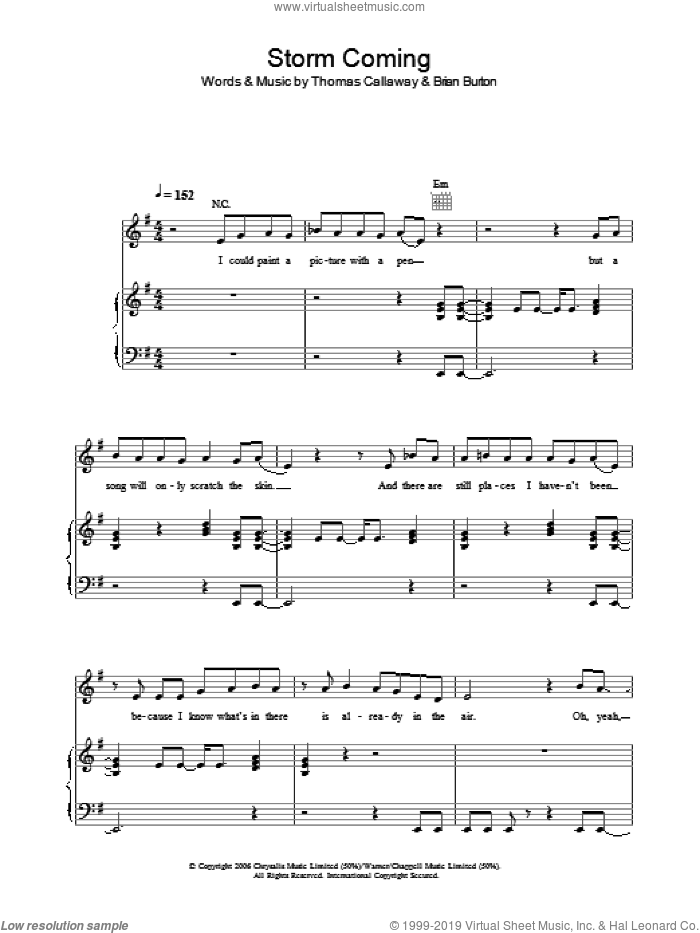 Storm Coming sheet music for voice, piano or guitar by Thomas Callaway, Gnarls Barkley and Brian Burton. Score Image Preview.