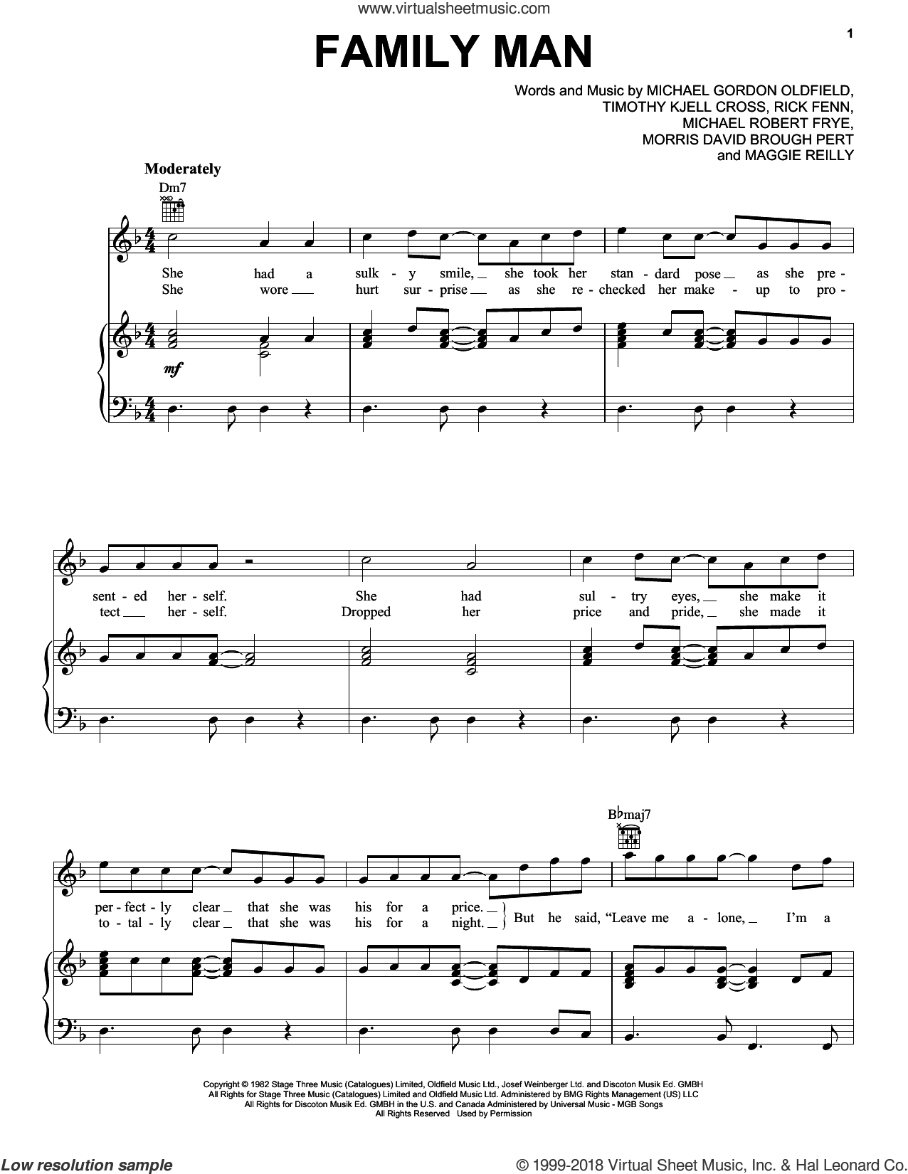 Family Man sheet music for voice, piano or guitar by Hall and Oates, Daryl Hall, Daryl Hall & John Oates, John Oates, Maggie Reilly, Michael Gordon Oldfield, Michael Robert Frye, Morris David Brough Pert, Rick Fenn and Timothy Kjell Cross, intermediate skill level