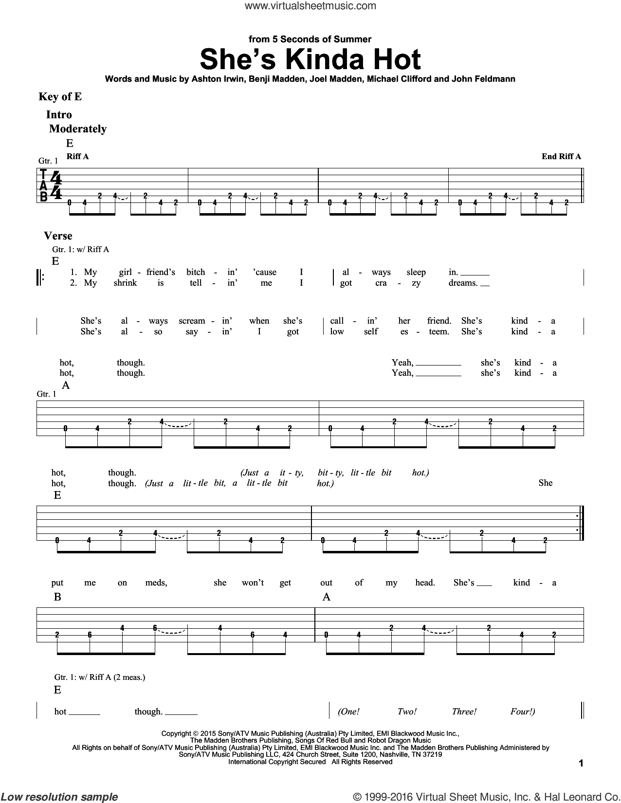 She's Kinda Hot sheet music for guitar solo (lead sheet) by Michael Clifford, Ashton Irwin, Benji Madden, Joel Madden and John Feldmann. Score Image Preview.