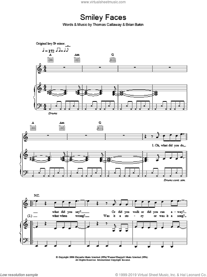 Smiley Faces sheet music for voice, piano or guitar by Gnarls Barkley and Thomas Callaway. Score Image Preview.