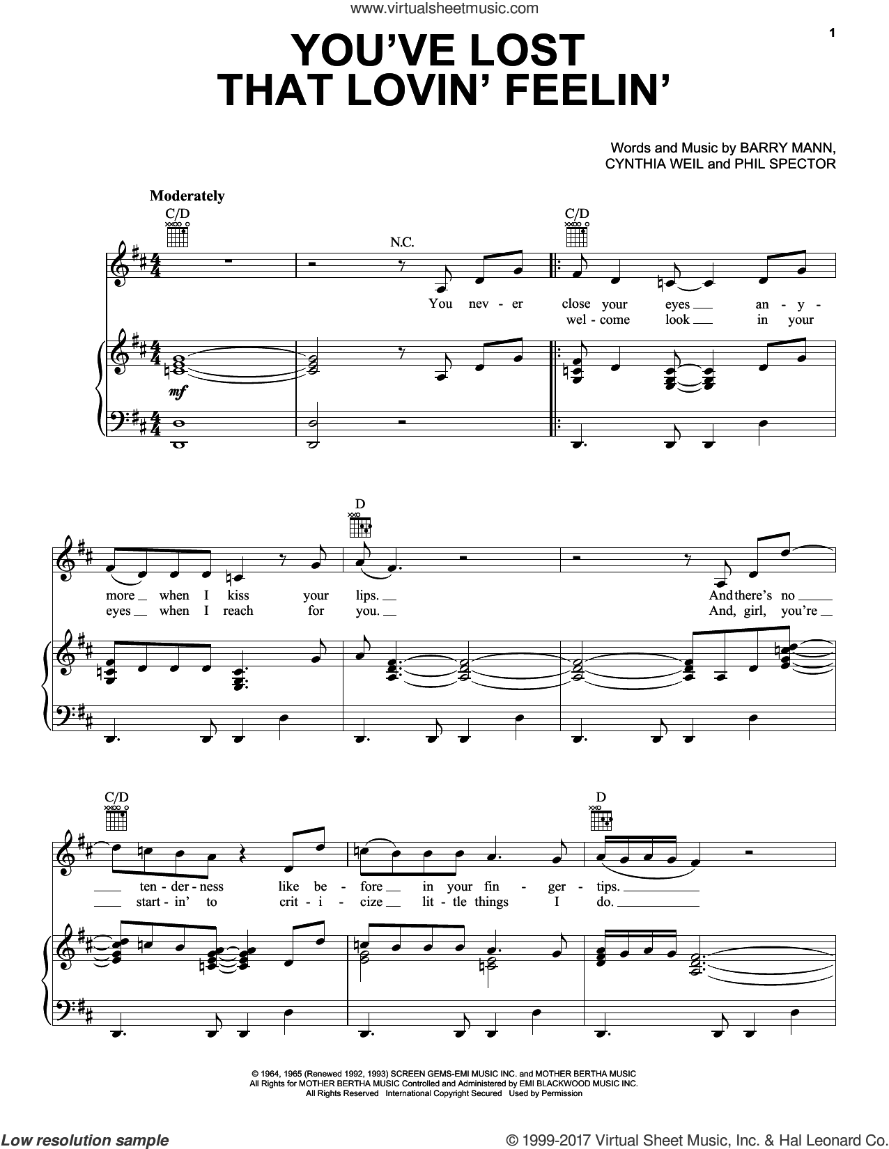 You've Lost That Lovin' Feelin' sheet music for voice, piano or guitar by Barry Mann, Daryl Hall, Hall and Oates, John Oates and Cynthia Weil, intermediate skill level