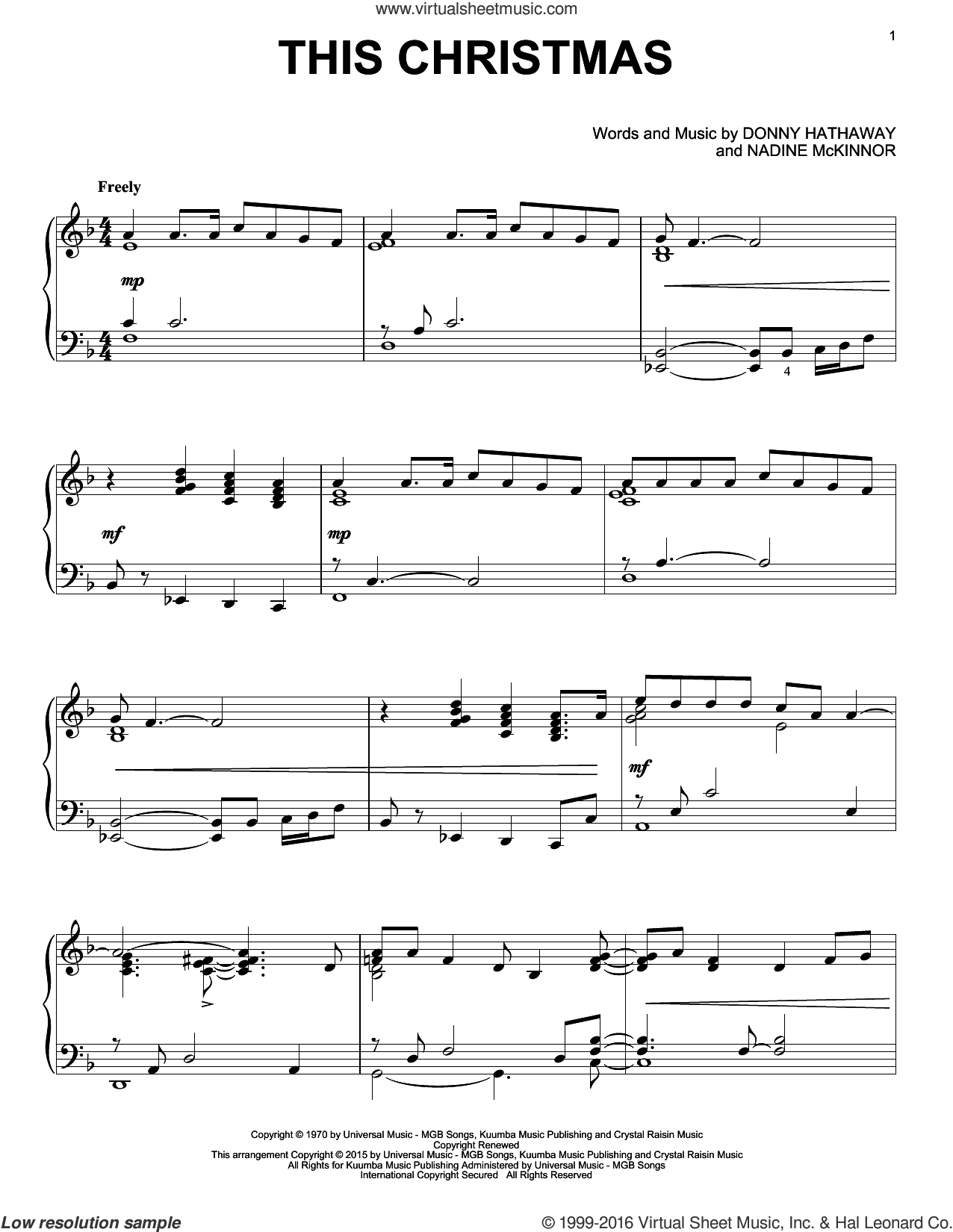 This Christmas sheet music for piano solo by Donny Hathaway and Nadine McKinnor, intermediate skill level
