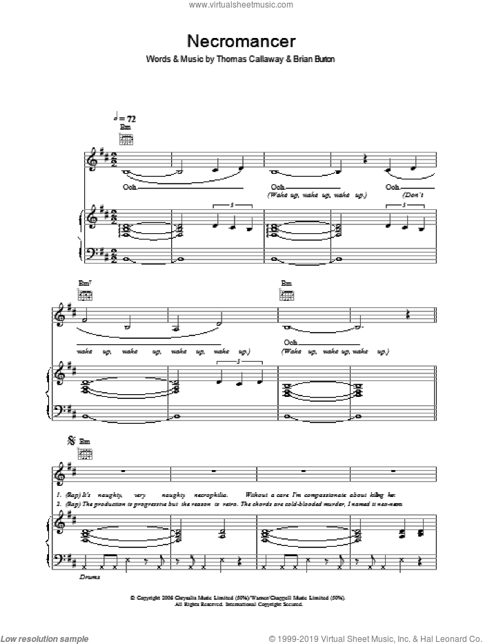 Necromancer sheet music for voice, piano or guitar by Gnarls Barkley, Brian Burton and Thomas Callaway, intermediate skill level