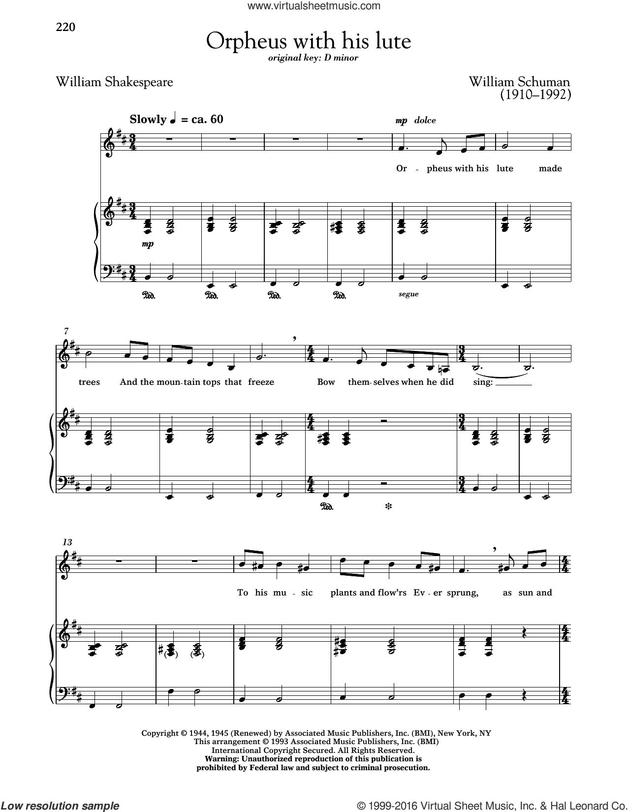 Orpheus With His Lute sheet music for voice and piano (Low ) by William Schuman, Richard Walters and William Shakespeare, classical score, intermediate. Score Image Preview.