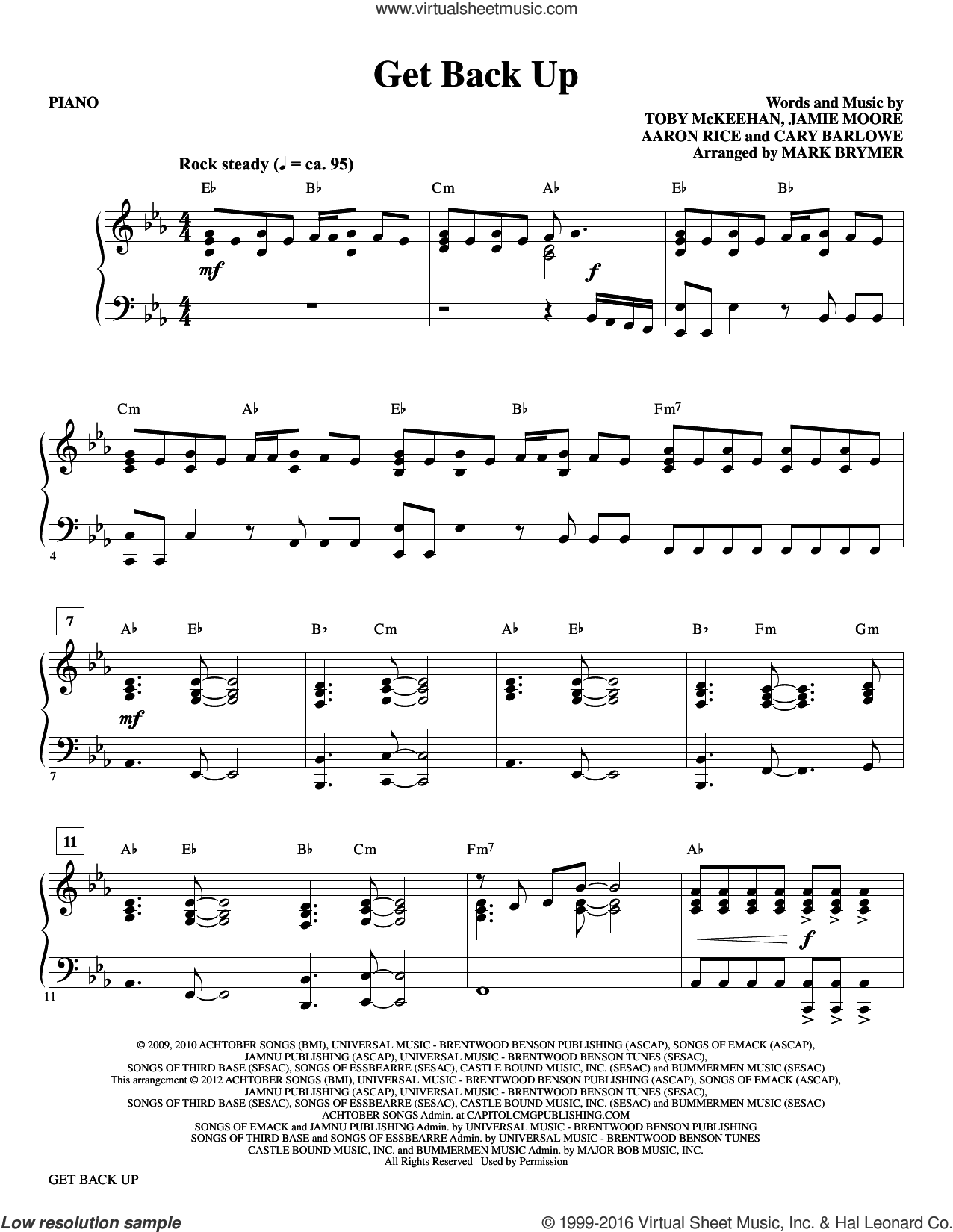 Get Back Up (COMPLETE) sheet music for orchestra by Toby McKeehan, Mark Brymer, tobyMac and Cary Barlowe, intermediate orchestra. Score Image Preview.
