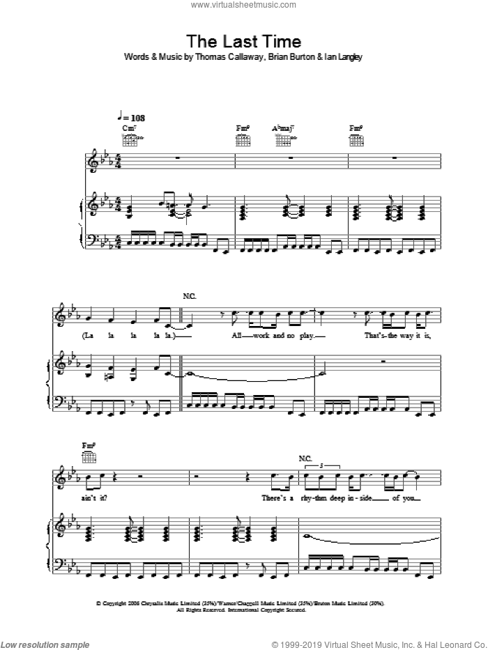The Last Time sheet music for voice, piano or guitar by Gnarls Barkley, Brian Burton, Ian Langley and Thomas Callaway, intermediate skill level