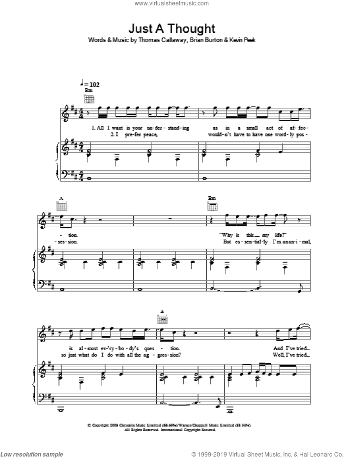 Just A Thought sheet music for voice, piano or guitar by Thomas Callaway, Gnarls Barkley and Brian Burton. Score Image Preview.