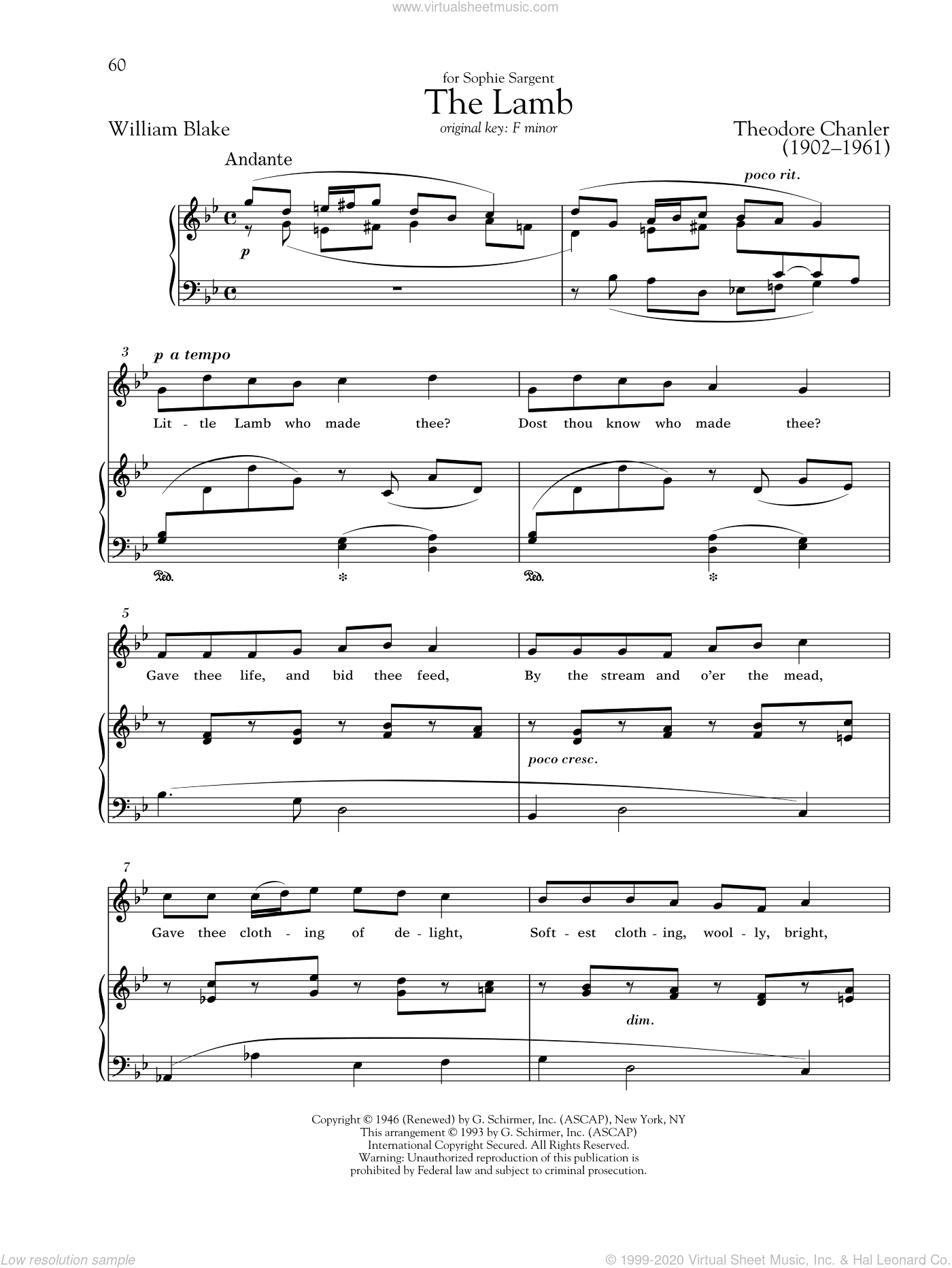 The Lamb sheet music for voice and piano (High ) by Theodore Chanler, Richard Walters and William Blake. Score Image Preview.