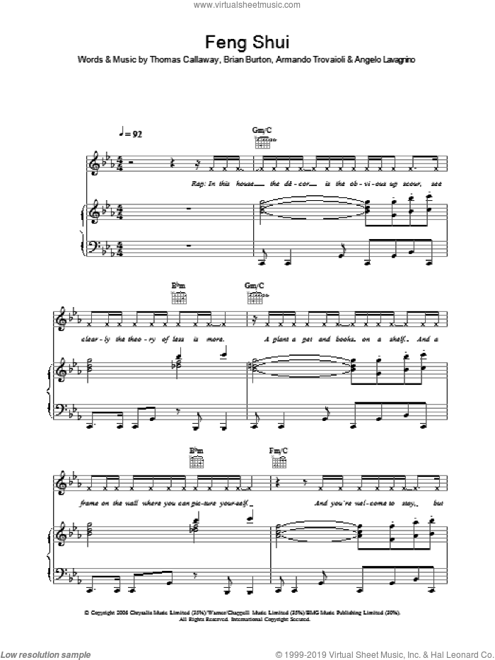Feng Shui sheet music for voice, piano or guitar by Thomas Callaway, Gnarls Barkley and Brian Burton. Score Image Preview.