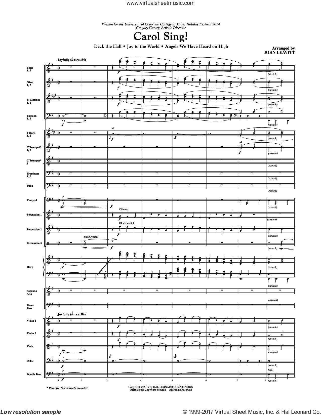 Carol Sing! (COMPLETE) sheet music for orchestra/band by John Leavitt and James Chadwick, intermediate skill level