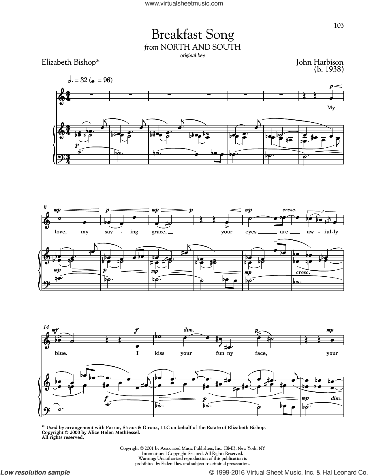 Breakfast Song sheet music for voice and piano (High ) by Elizabeth Bishop, Richard Walters and John Harbison. Score Image Preview.