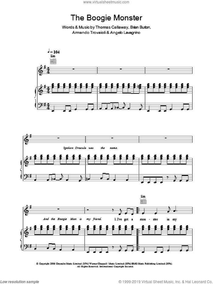 The Boogie Monster sheet music for voice, piano or guitar by Gnarls Barkley and Thomas Callaway. Score Image Preview.