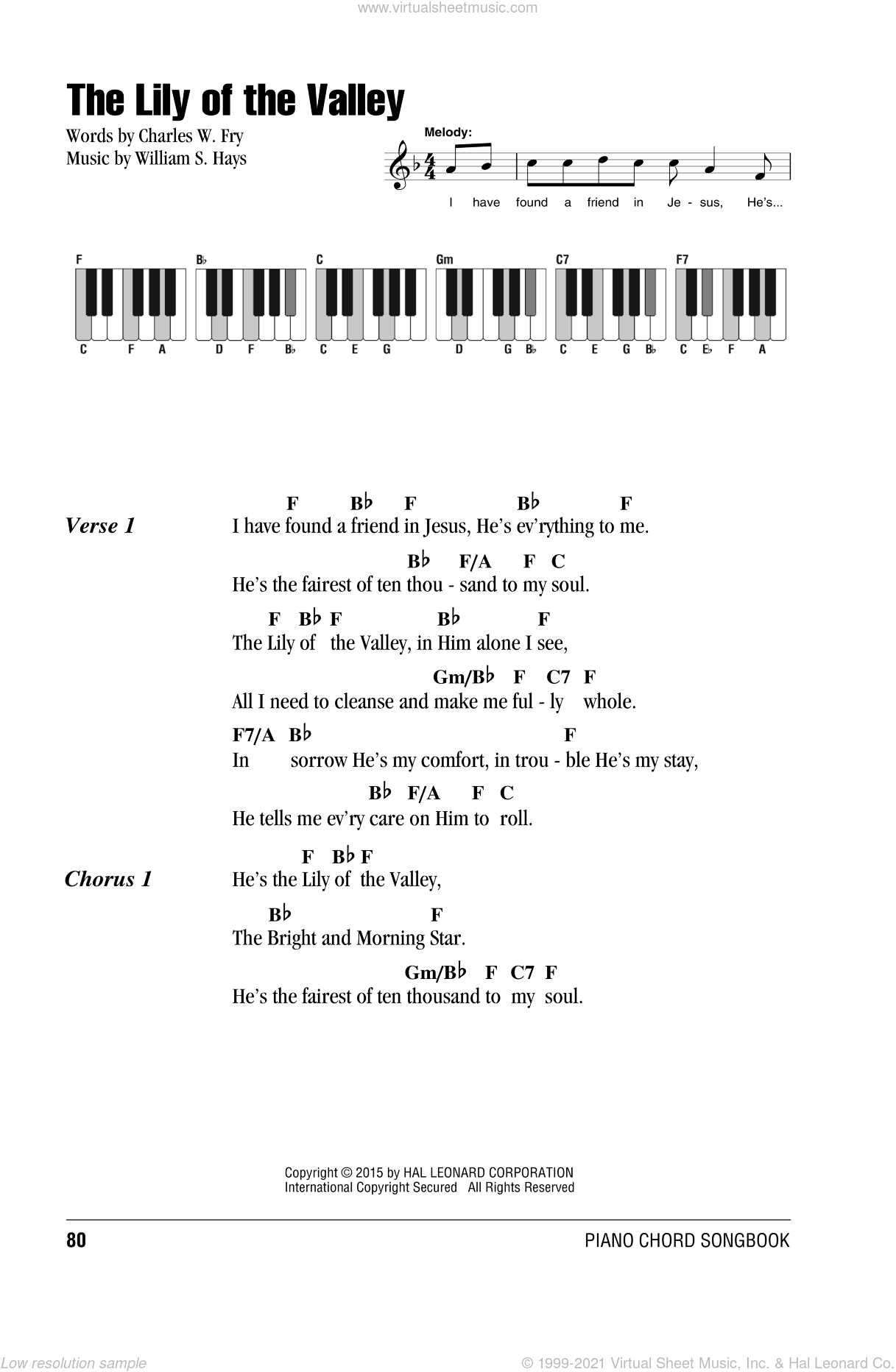 The Lily Of The Valley sheet music for piano solo (chords, lyrics, melody) by William S. Hays and Charles W. Fry, intermediate piano (chords, lyrics, melody)