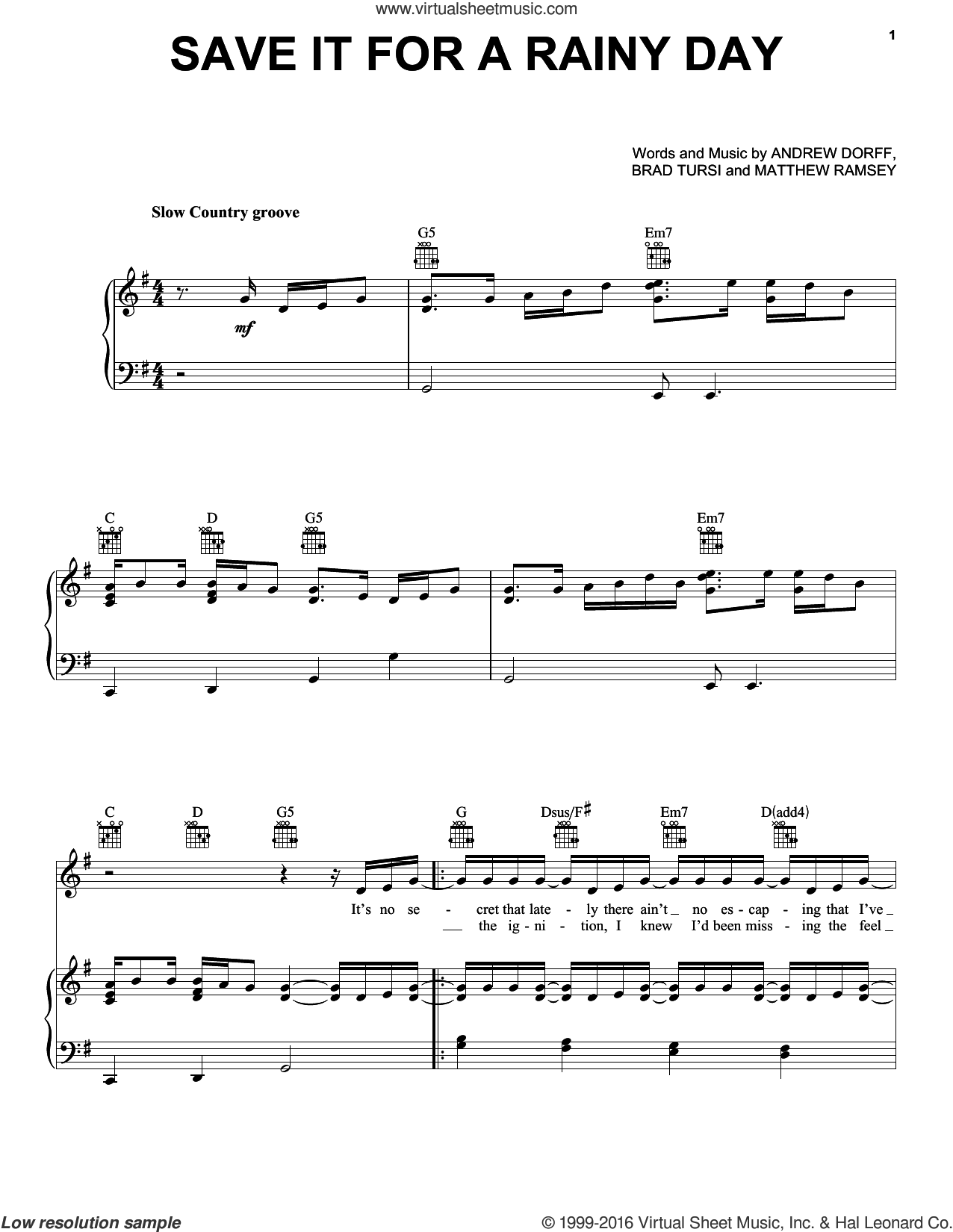 Save It For A Rainy Day sheet music for voice, piano or guitar by Kenny Chesney, Andrew Dorff, Brad Tursi and Matthew Ramsey, intermediate