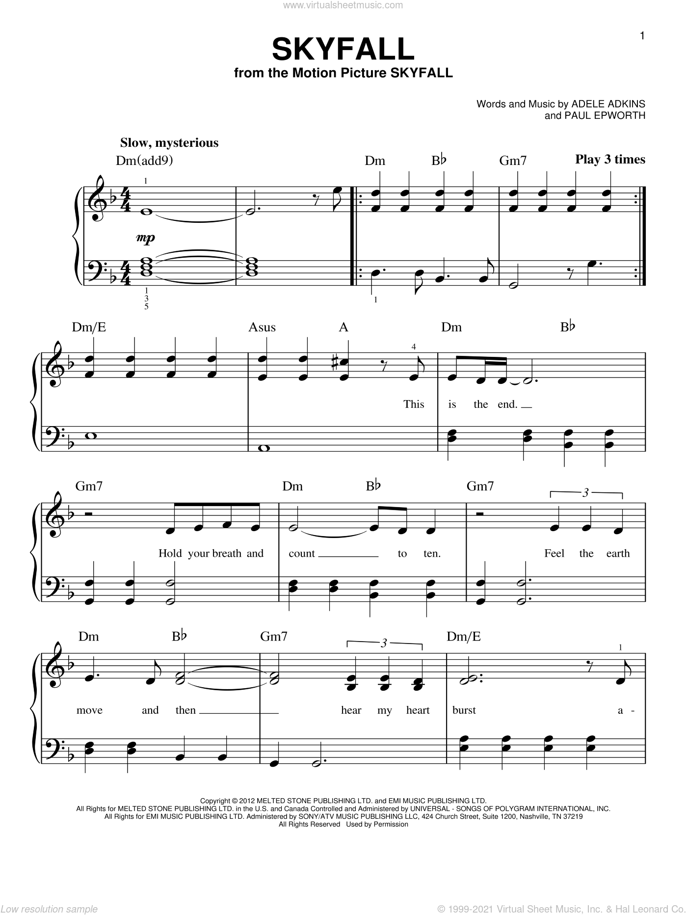 Skyfall sheet music for piano solo by Adele, Adele Adkins and Paul Epworth, beginner skill level
