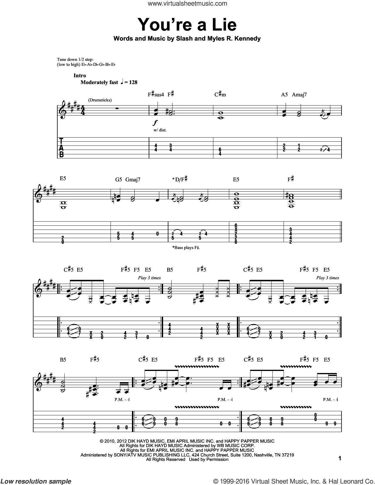 You're A Lie sheet music for guitar (tablature, play-along) by Slash. Score Image Preview.