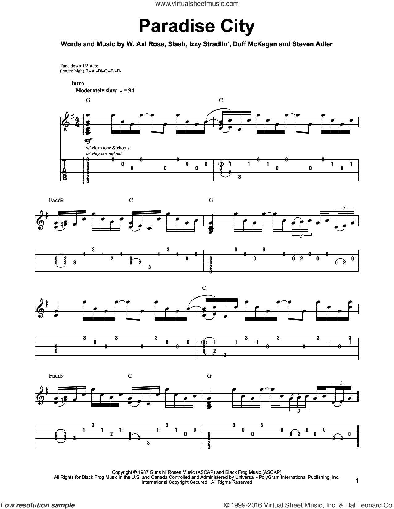 Paradise City sheet music for guitar (tablature, play-along) by Axl Rose, Duff McKagan, Slash and Steven Adler. Score Image Preview.